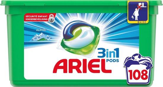 Ariel 3in1 Pods Alpine Wasmiddel - Kwartaalbox 3 x 36 Wasbeurten - Wasmiddelcapsules