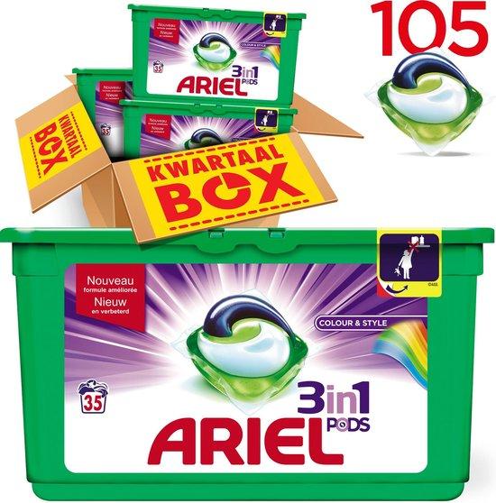 Ariel 3in1 PODS Colour & Style - Kwartaalbox 105 Wasbeurten - Wasmiddel Capsules