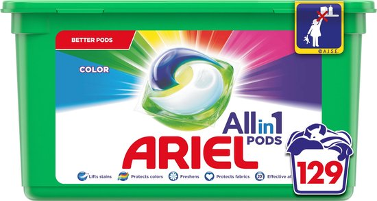 Ariel All in 1 Pods Kleur Wasmiddel - Kwartaalbox 3 x 43 Wasbeurten - Wasmiddelcapsules