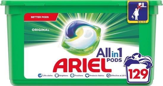 Ariel All in 1 Pods Regular Wasmiddel - Kwartaalbox 3 x 43 Wasbeurten - Wasmiddelcapsules